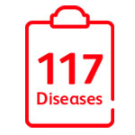 Covers 117 disease conditions